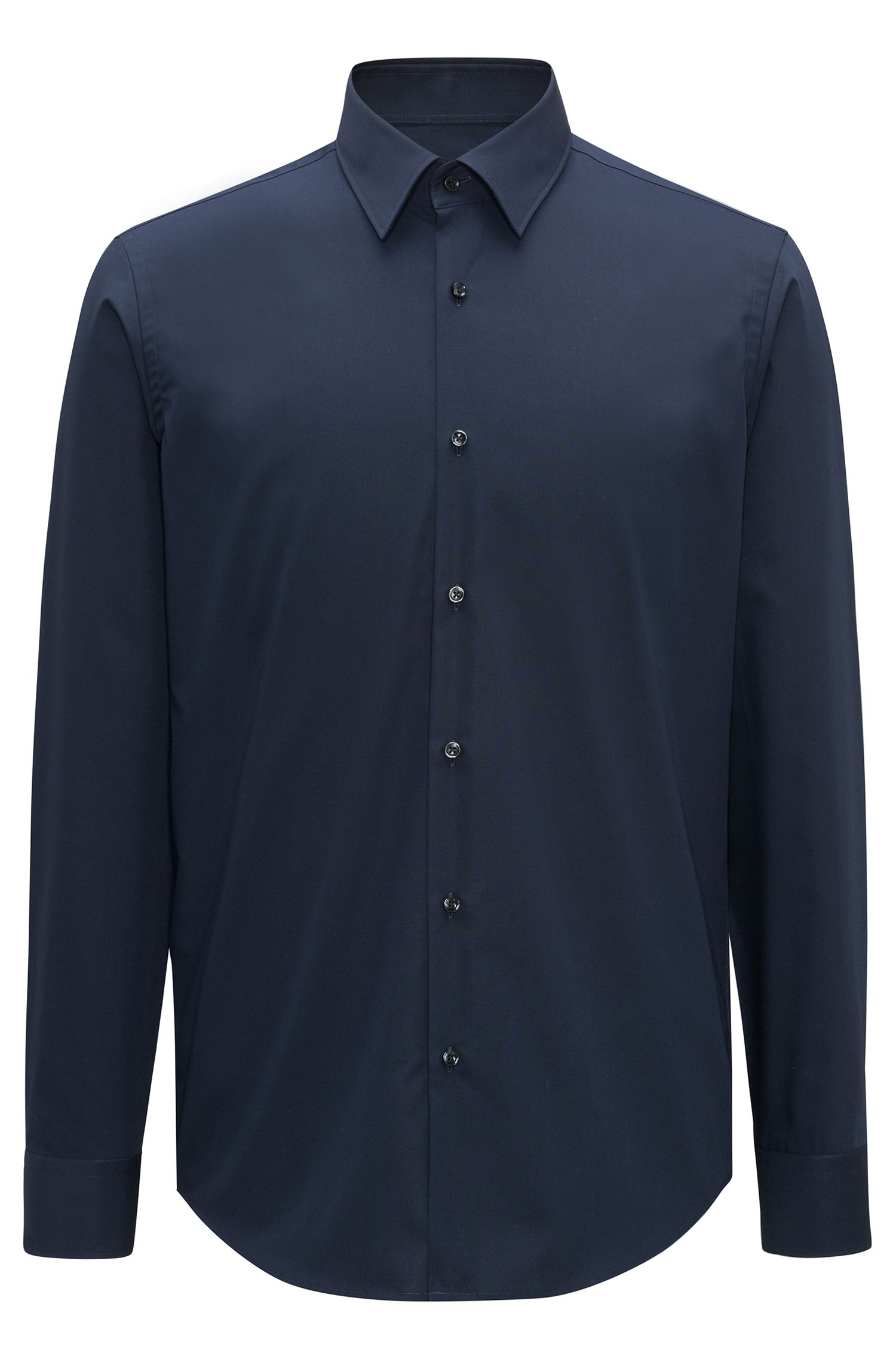Regular-fit business shirt in cotton poplin