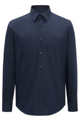 Zakelijk regular-fit overhemd van katoenpopeline, Donkerblauw