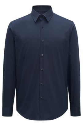 Camicia business regular fit in popeline di cotone, Blu scuro