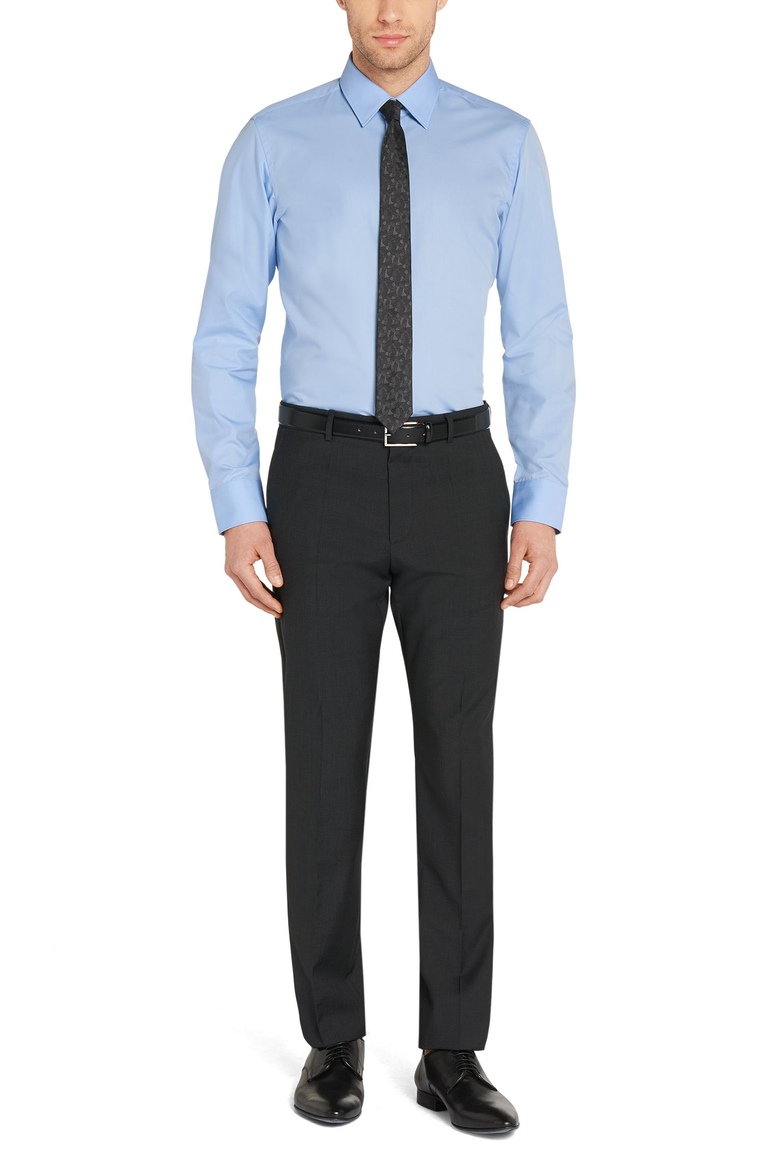 Chemise business Regular Fit en popeline de coton, Bleu vif