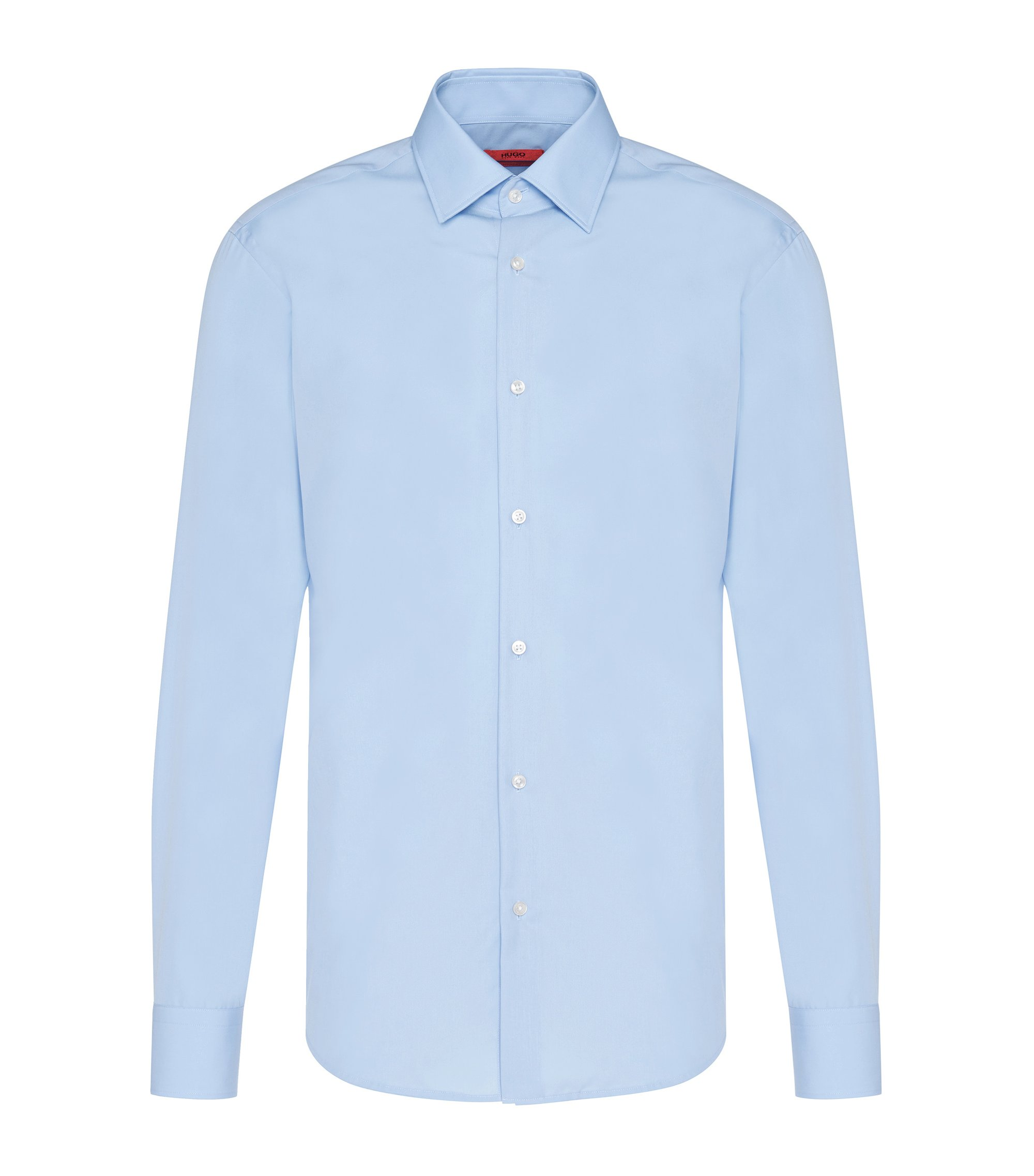 Regular-fit business shirt in cotton poplin, Light Blue