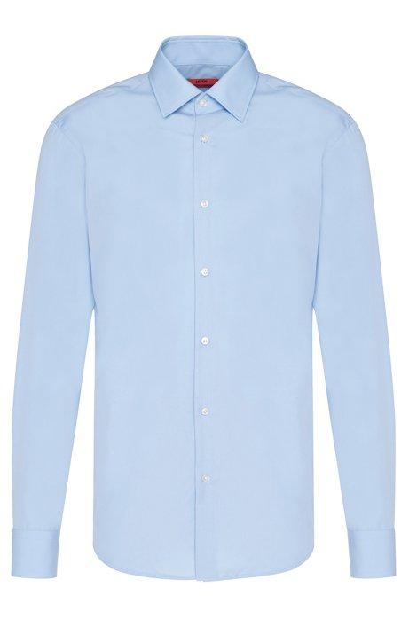 Zakelijk regular-fit overhemd van katoenpopeline, Lichtblauw