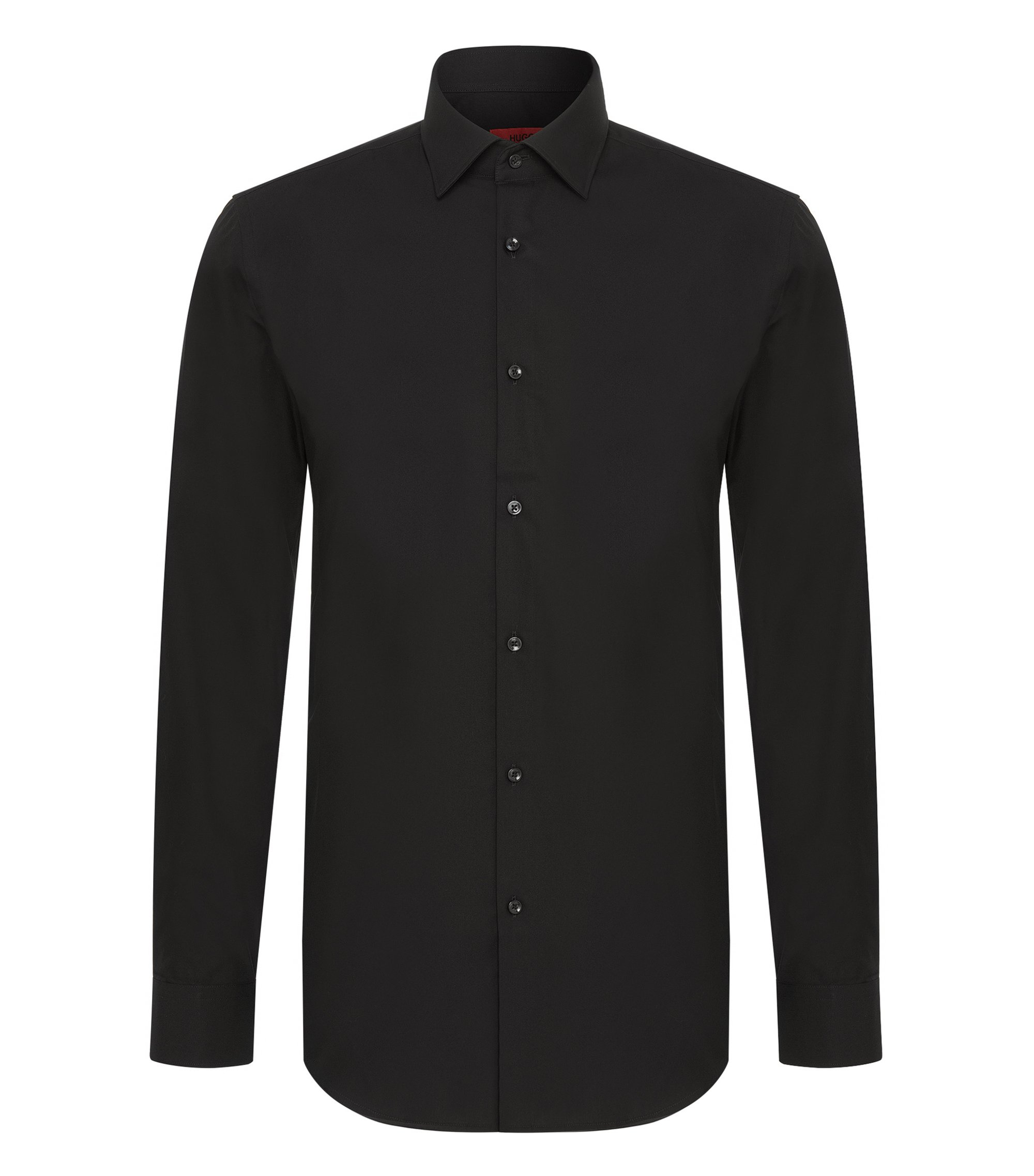 Slim-fit business shirt in cotton poplin, Black