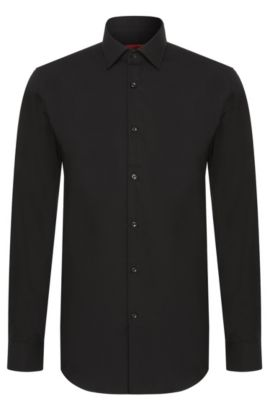 Chemise business Slim Fit en popeline de coton, Noir