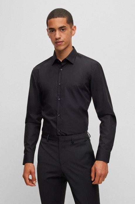 Camicia business slim fit in popeline di cotone, Nero
