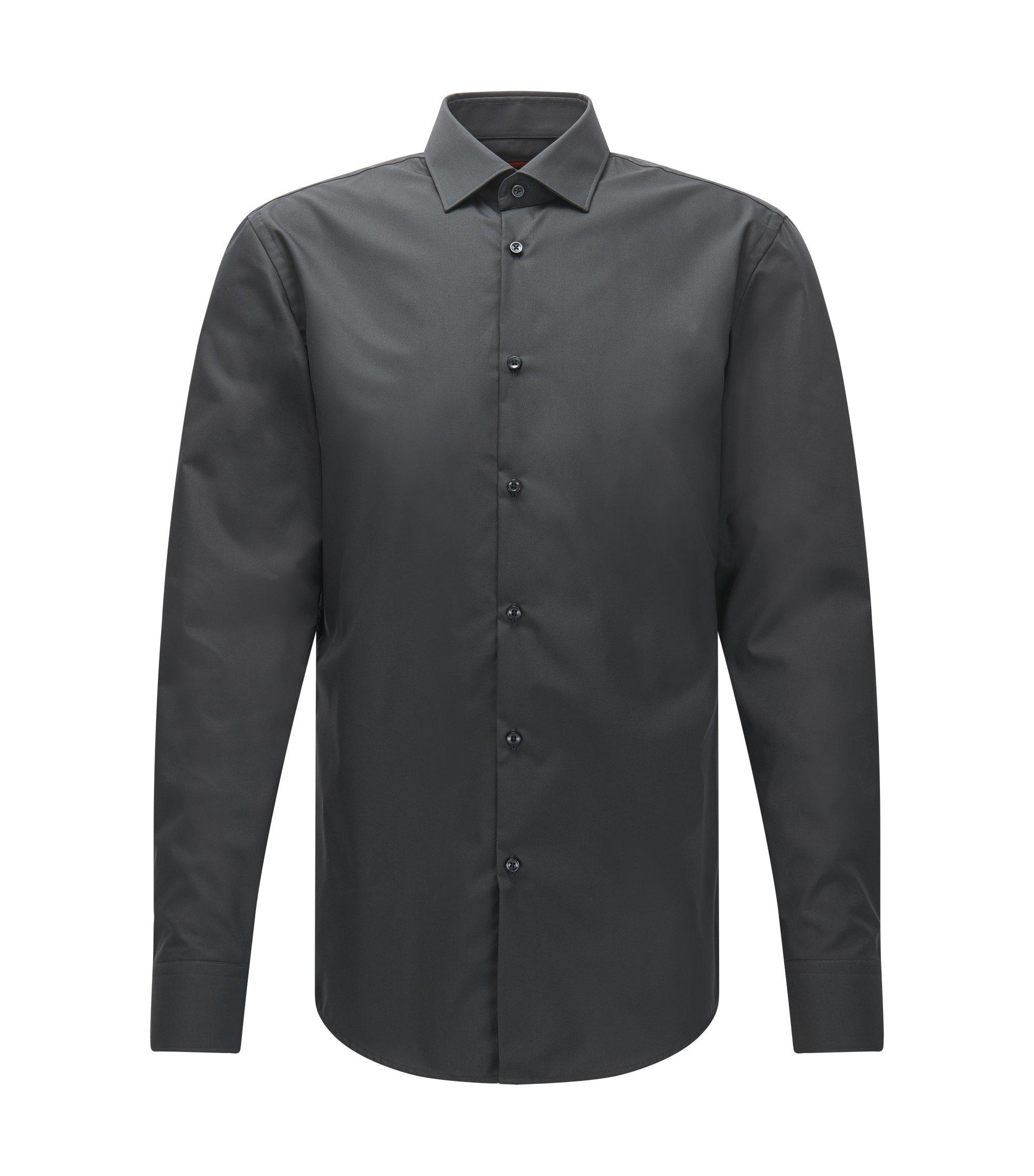 Camicia business slim fit in popeline di cotone, Grigio antracite