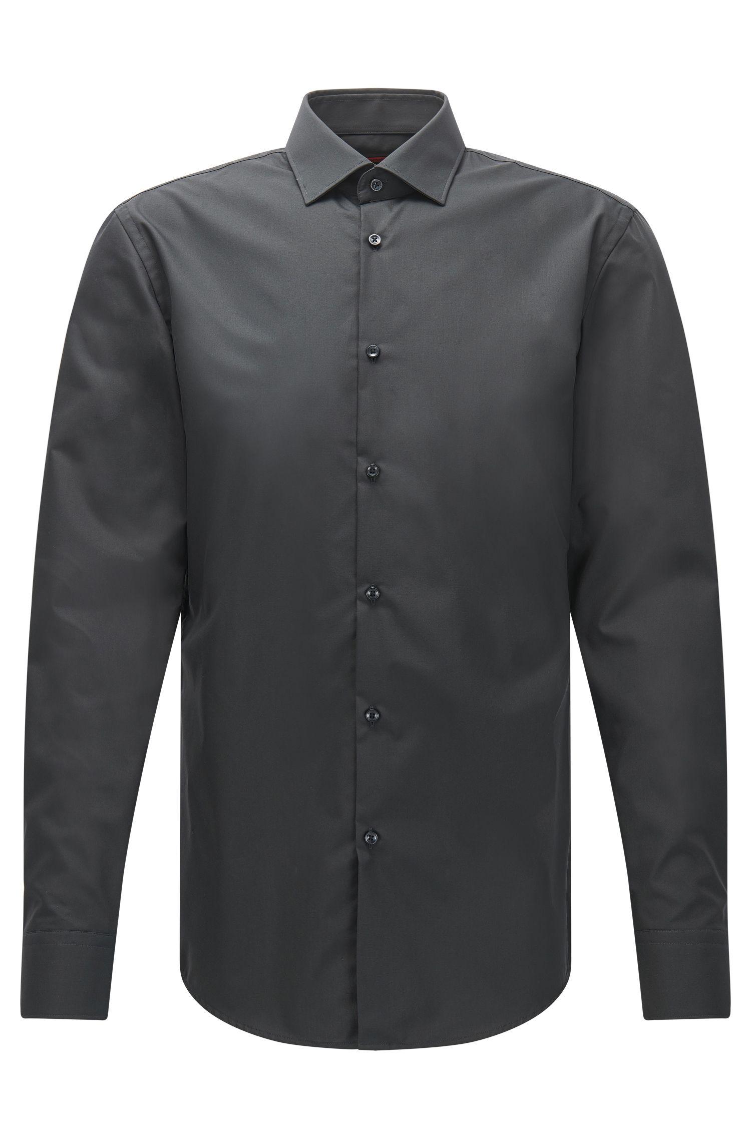 Effen, slim-fit overhemd van katoen: 'C-Jenno'