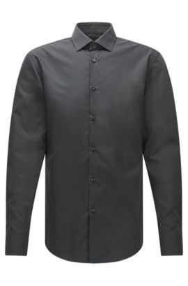 Slim-fit business shirt in cotton poplin, Anthracite