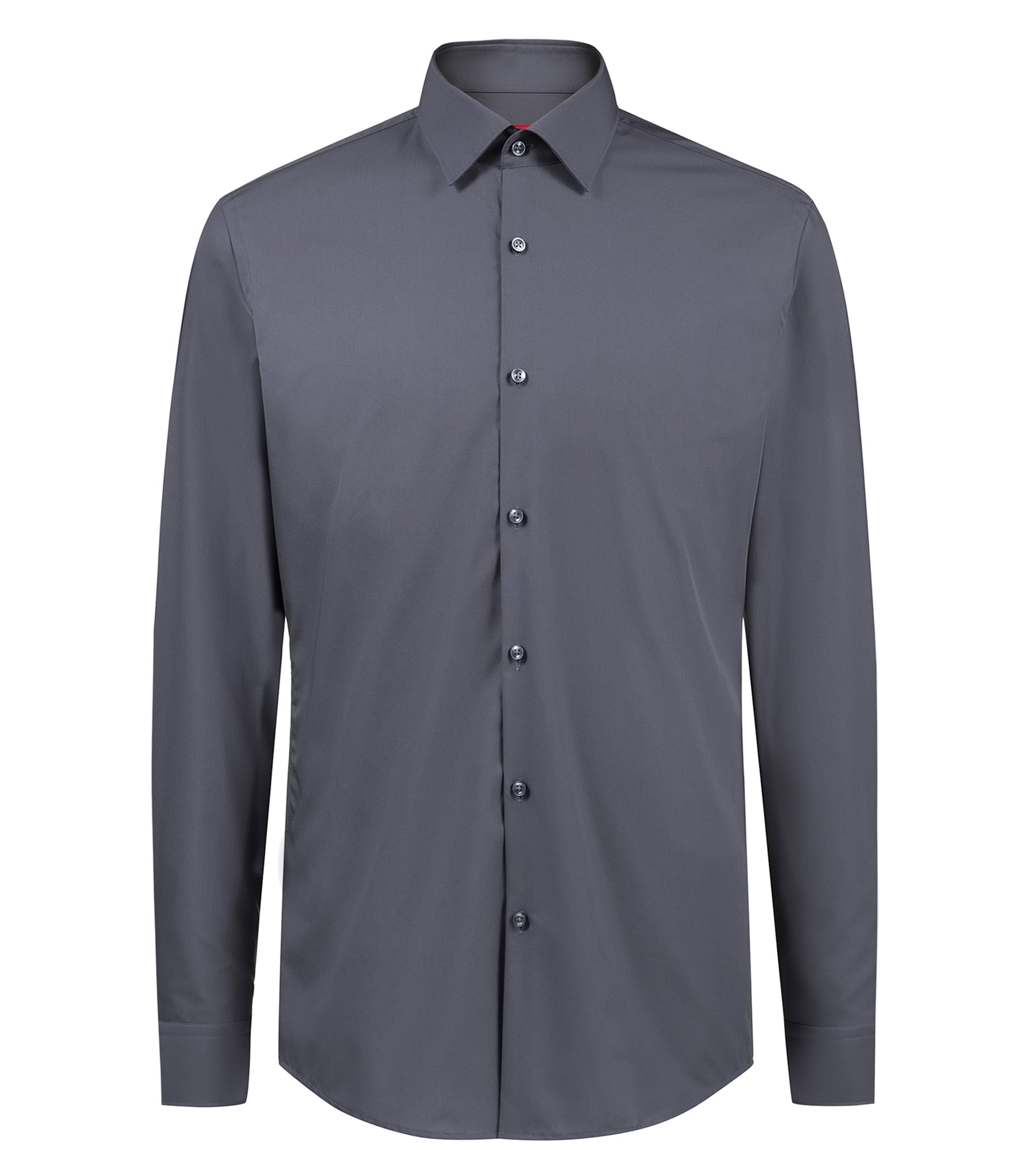 Slim-fit business shirt in cotton poplin, Grey