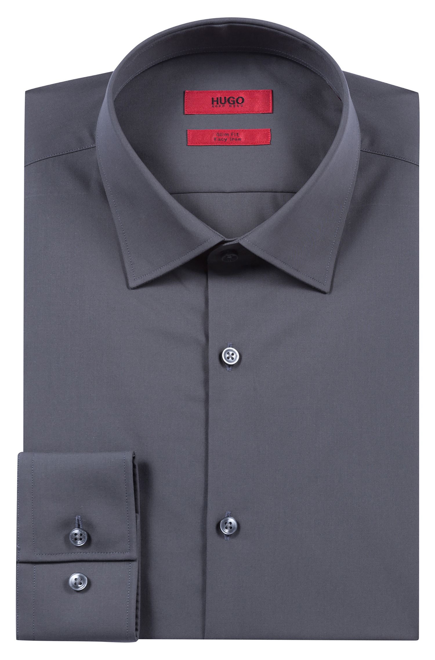 Camicia business slim fit in popeline di cotone