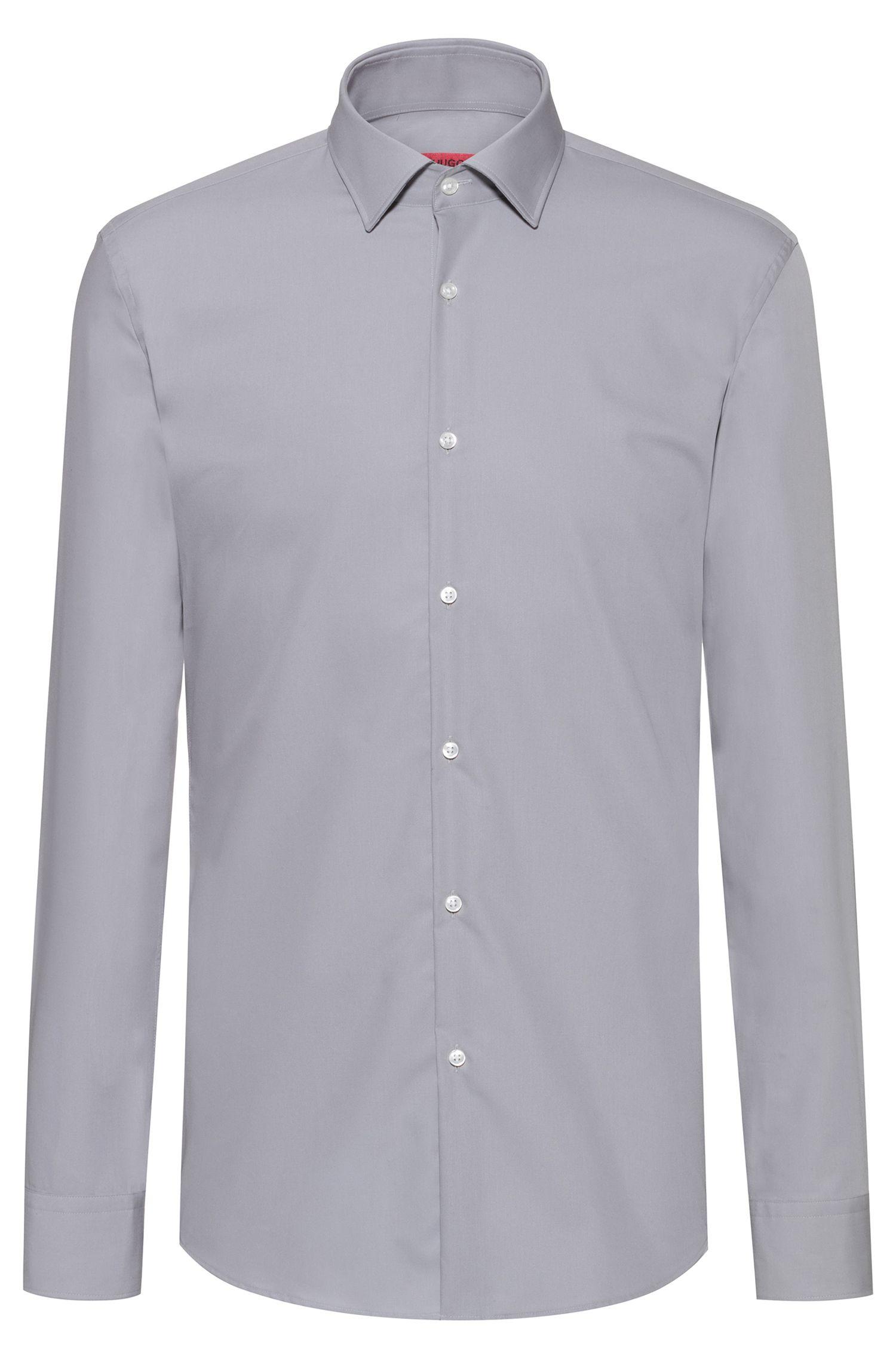 Slim-fit business shirt in cotton poplin, Light Grey