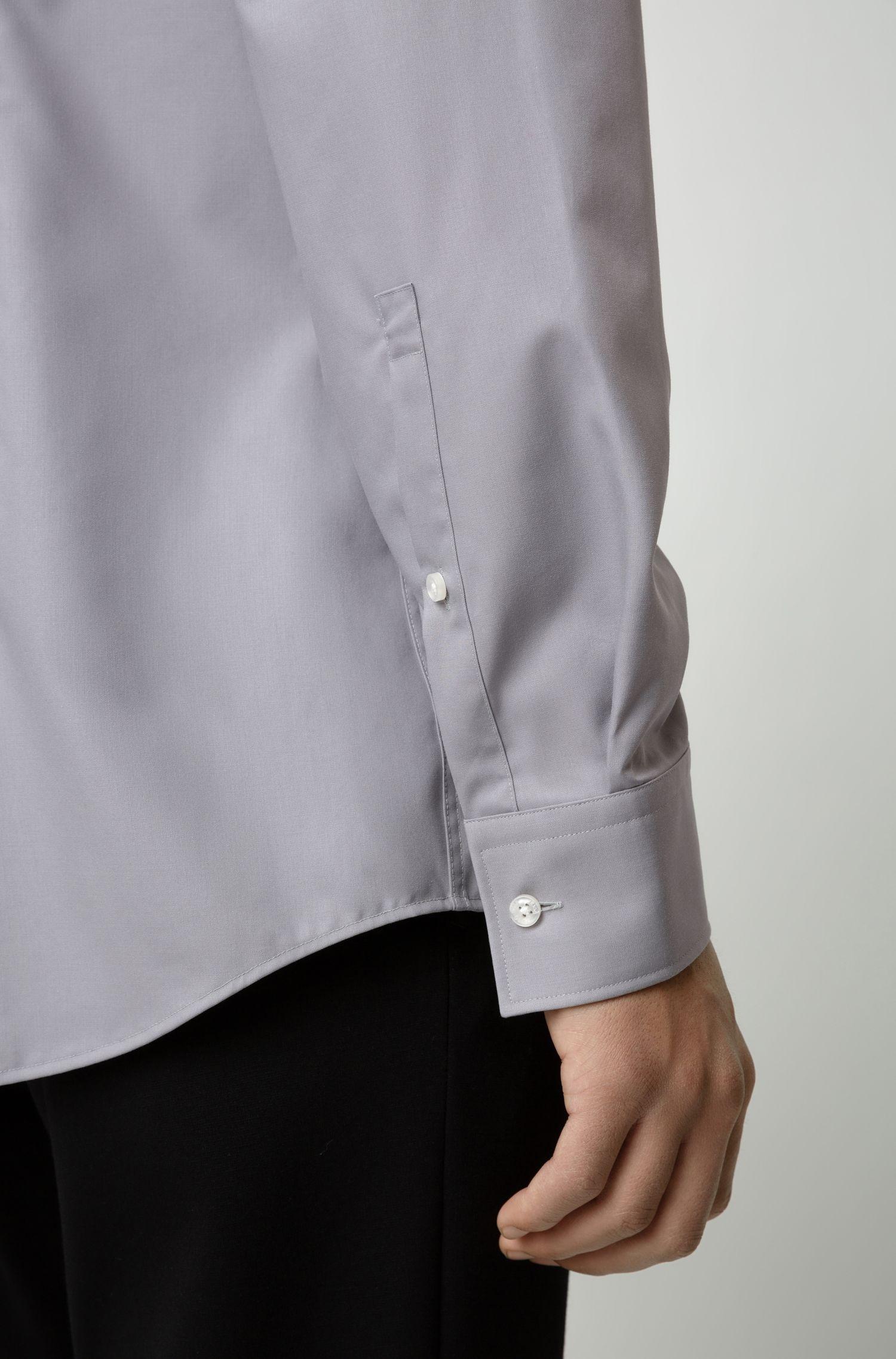 Camicia business slim fit in popeline di cotone, Grigio chiaro