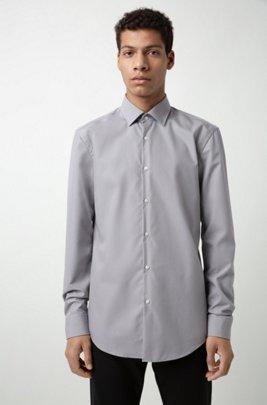 Slim-Fit Hemd aus Baumwolle, Hellgrau