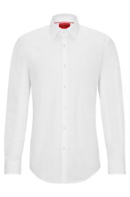 Zakelijk slim-fit overhemd van katoenpopeline, Wit