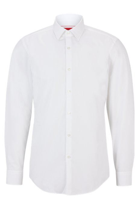 Chemise business Slim Fit en popeline de coton, Blanc