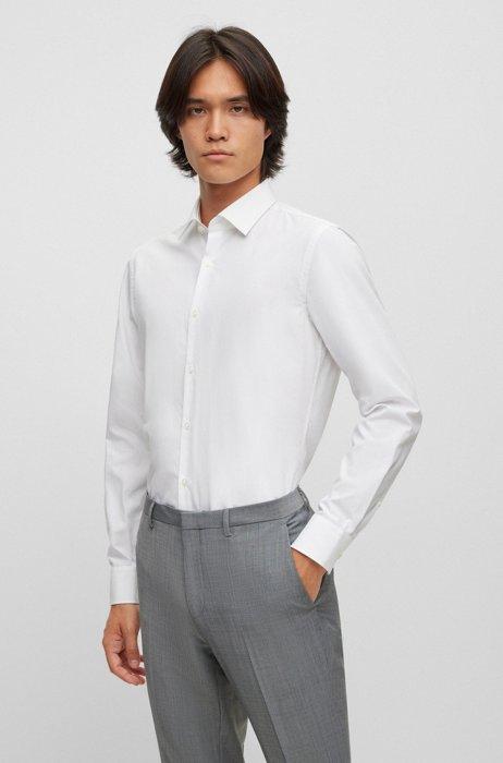 Slim-fit business shirt in cotton poplin, White