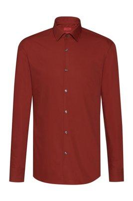 Slim-fit business shirt in cotton poplin, Brown