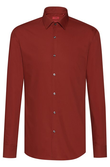 Chemise business Slim Fit en popeline de coton, Marron
