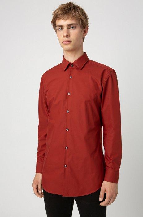 Zakelijk slim-fit overhemd van katoenpopeline, Bruin