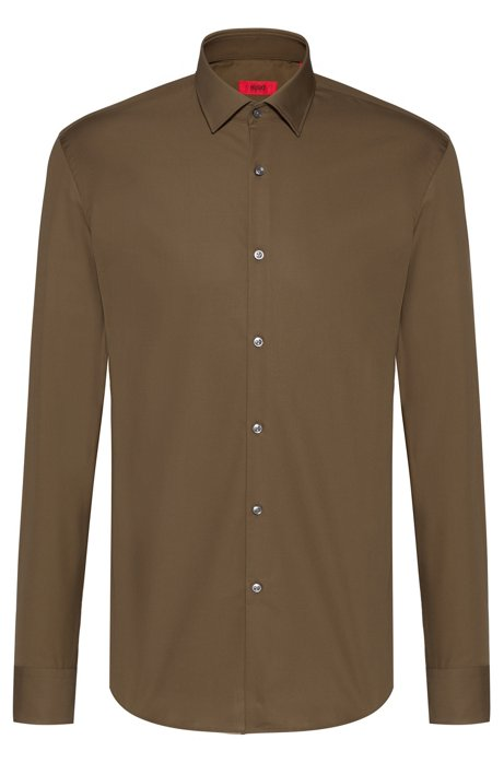 Slim-fit business shirt in cotton poplin, Dark Green