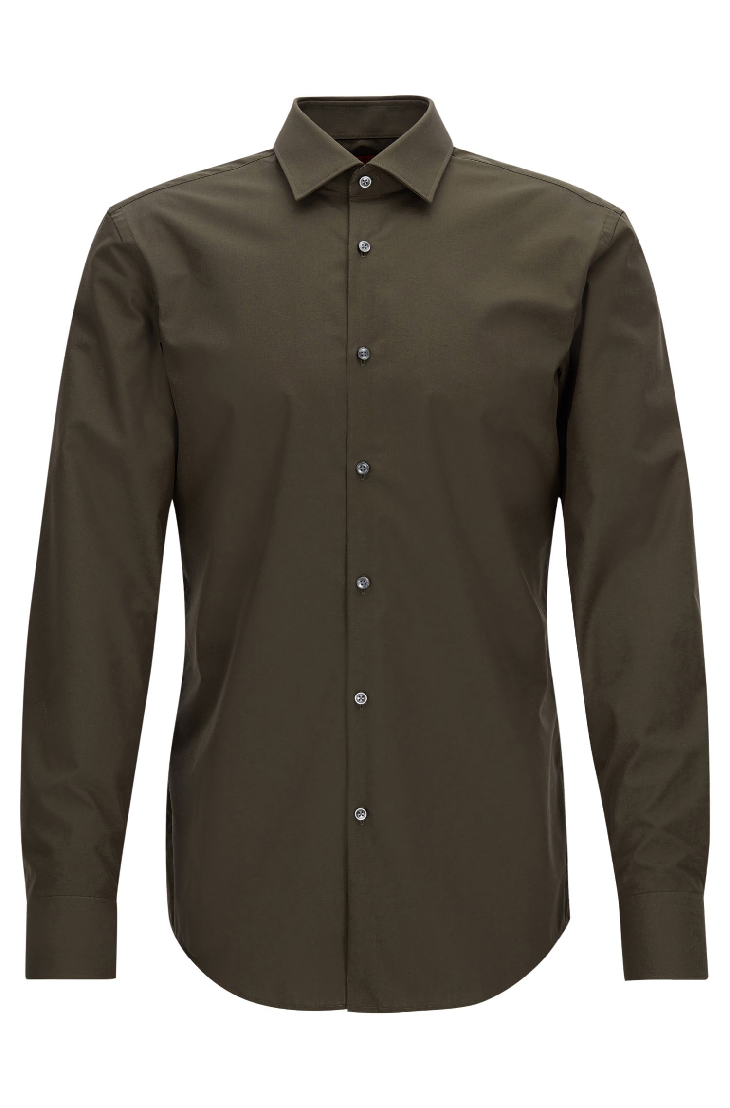 Zakelijk slim-fit overhemd van katoenpopeline