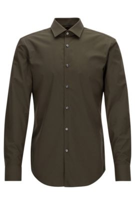 Slim-fit business shirt in cotton poplin, Green