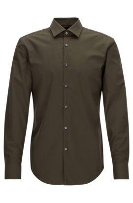Zakelijk slim-fit overhemd van katoenpopeline, Groen