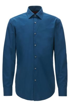 Camicia business slim fit in popeline di cotone, Blu scuro