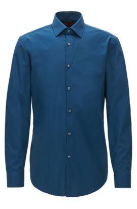 Zakelijk slim-fit overhemd van katoenpopeline, Donkerblauw
