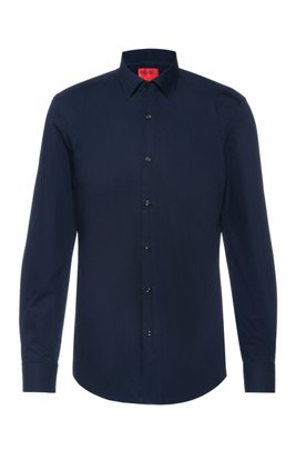 Slim-fit business shirt in cotton poplin, Dark Blue