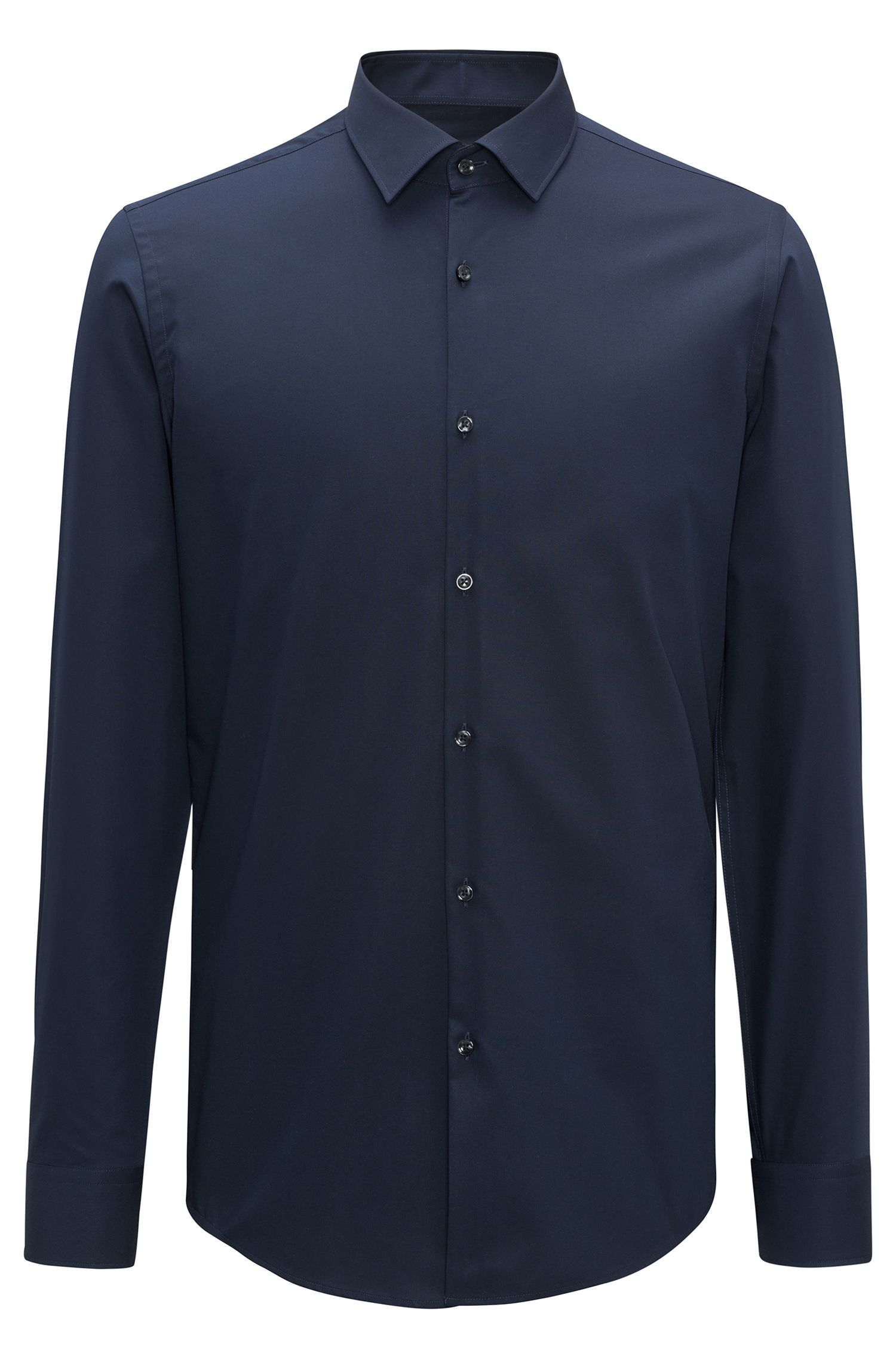 Slim-fit business shirt in cotton poplin