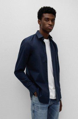 Slim-fit business shirt in cotton poplin, Dark Blue