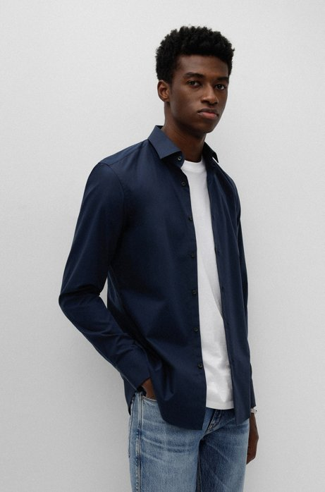 Camisa business slim fit en popelín de algodón, Azul oscuro