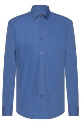 Chemise business Slim Fit en popeline de coton, Bleu