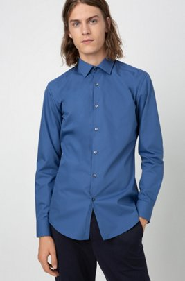 Slim-fit business shirt in cotton poplin, Blue
