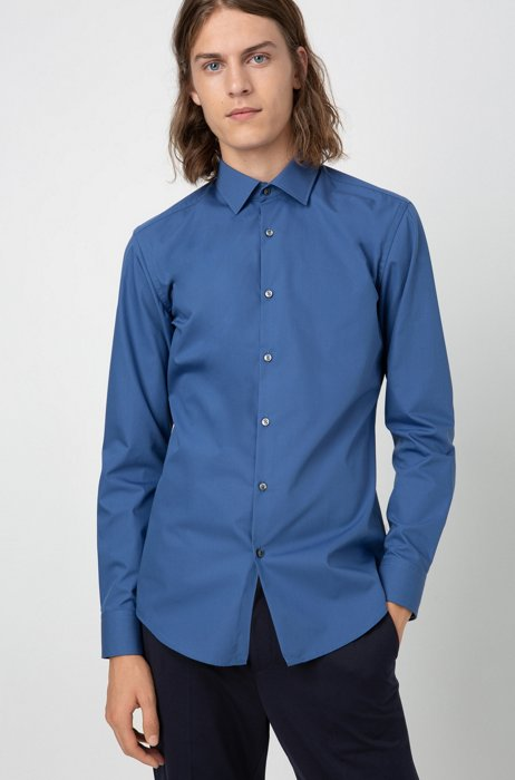 Slim-fit business shirt in cotton poplin, Blue