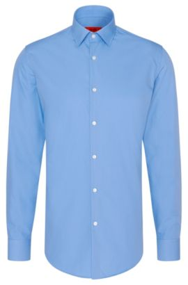 Camicia business slim fit in popeline di cotone, Celeste