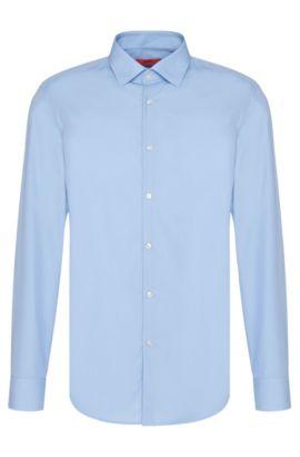 Zakelijk slim-fit overhemd van katoenpopeline, Lichtblauw