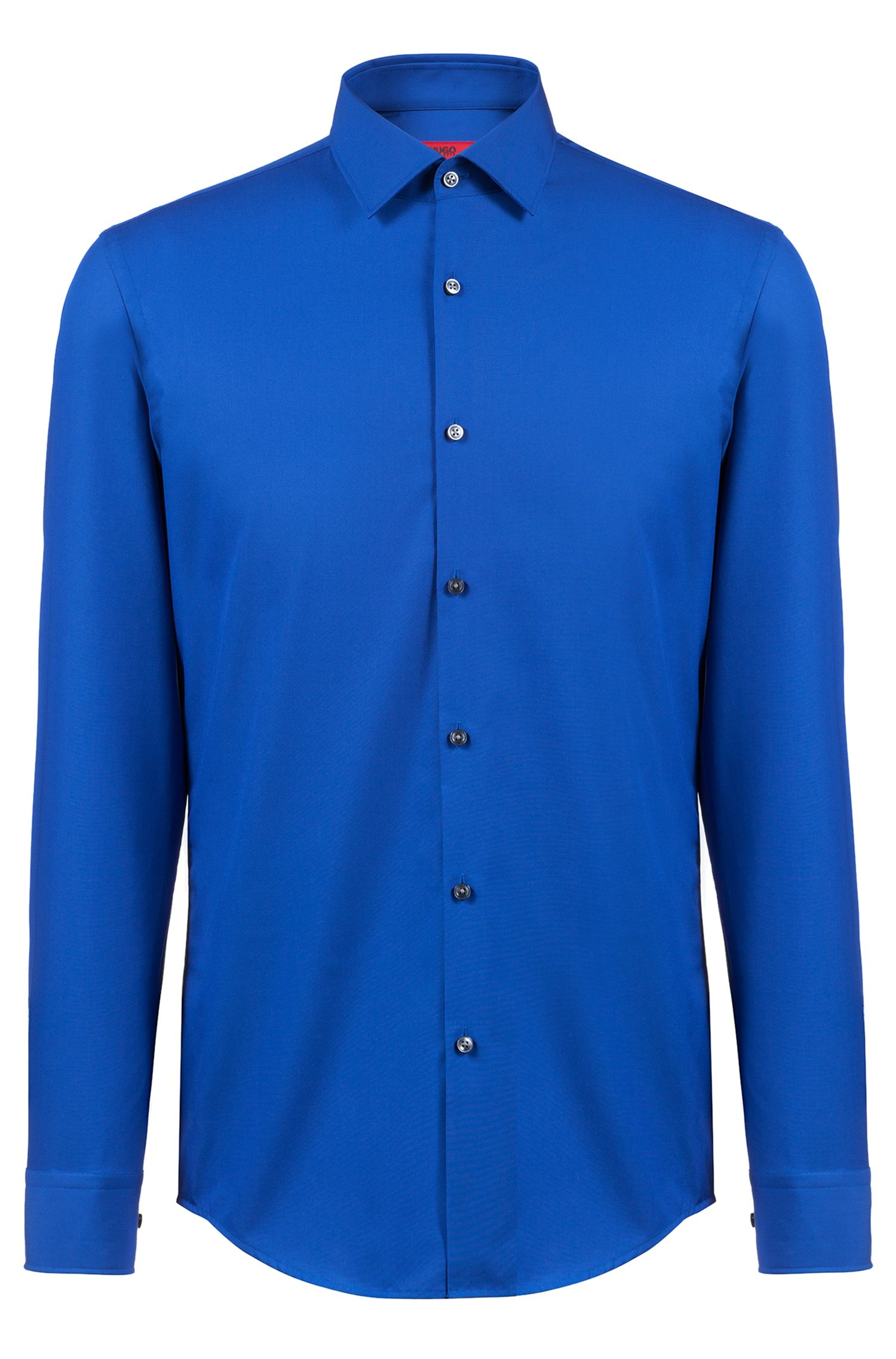 Camicia business slim fit in popeline di cotone, Blu