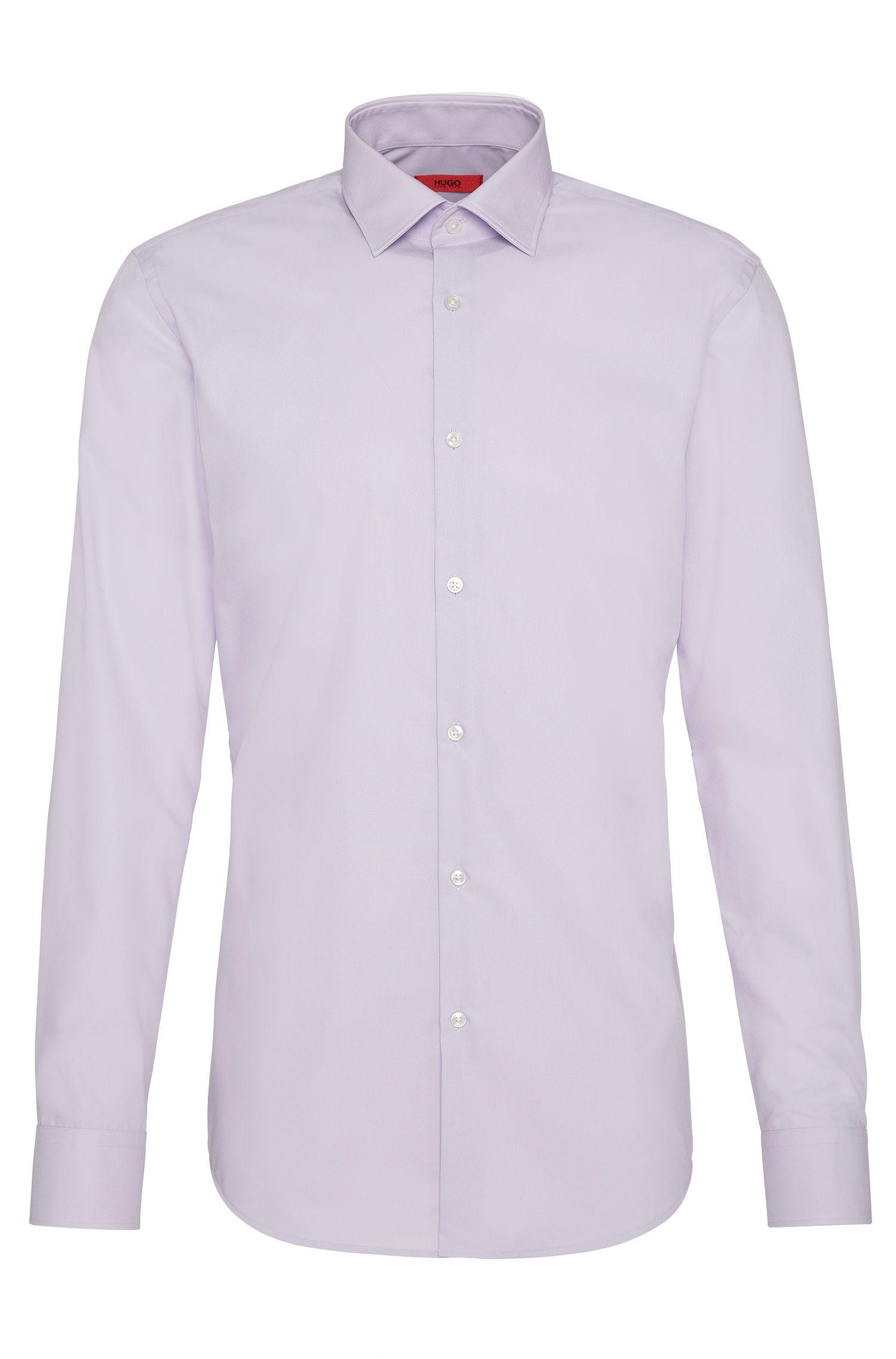 Slim-fit business shirt in cotton poplin, Light Purple