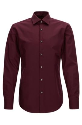 Camicia business slim fit in popeline di cotone, Rosso scuro
