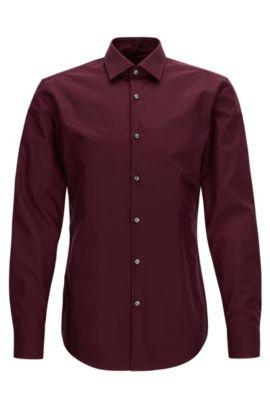 Camicia business slim fit in popeline di cotone, Rosso scuro