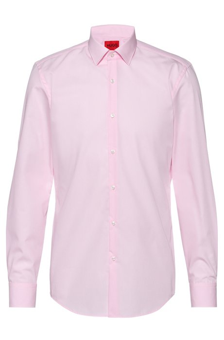 Chemise business Slim Fit en popeline de coton, Rose clair