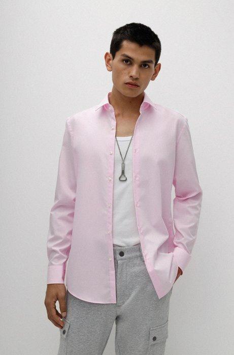 Camisa business slim fit en popelín de algodón, Rosa claro