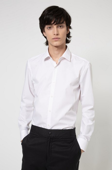 Slim-fit business shirt in cotton poplin, light pink