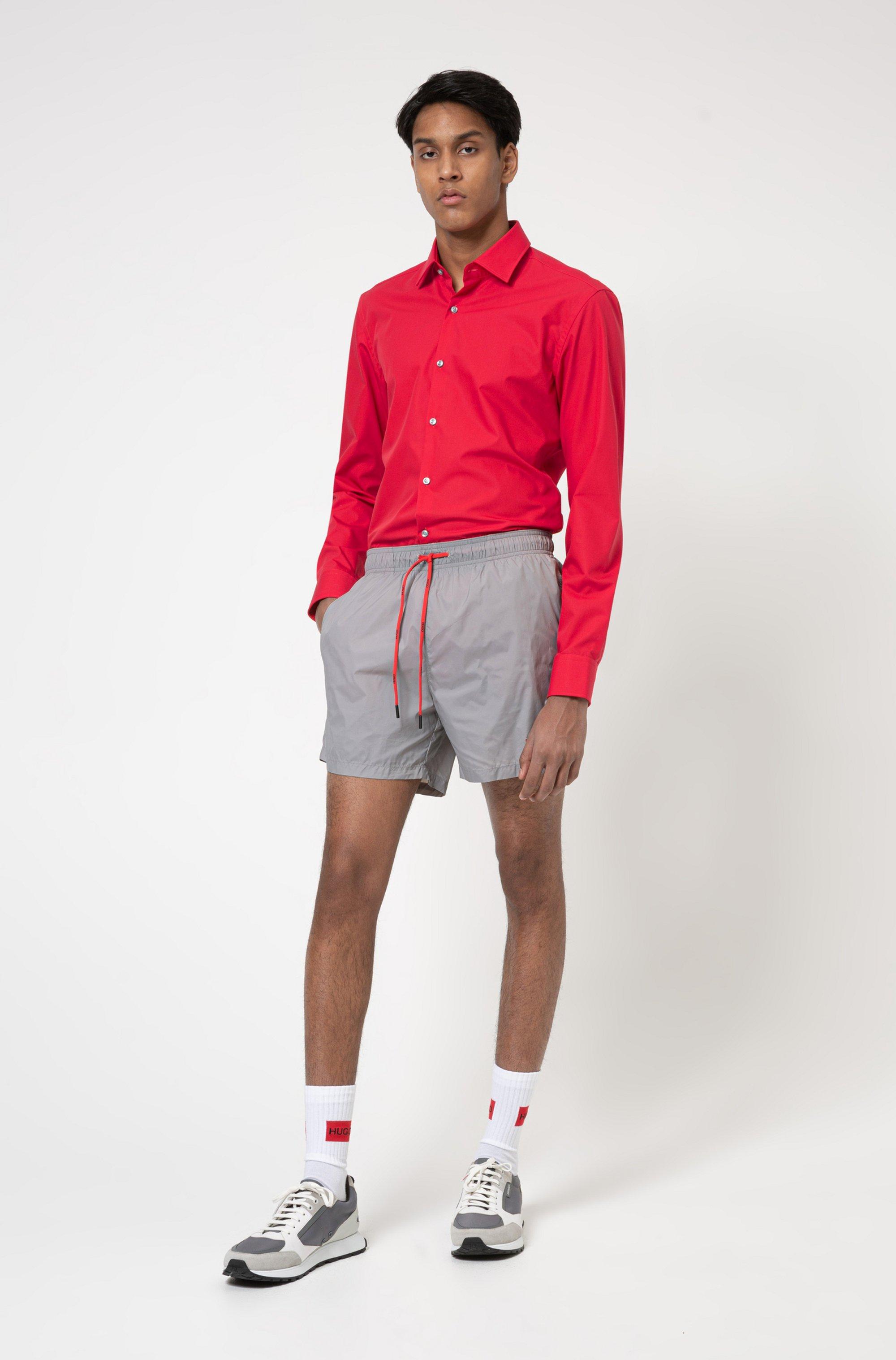 Slim-fit business shirt in cotton poplin