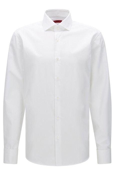 Camisa regular fit en popelín de algodón de HUGO Hombre, Blanco
