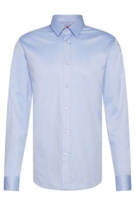 Slim-fit overhemd van katoen: 'Elisha', Lichtblauw