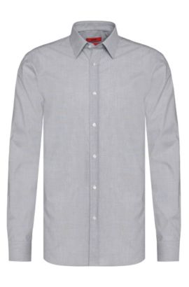 Slim-fit business shirt 'Elisha01' in easy-iron cotton , Grey