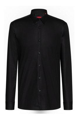 Extra Slim-Fit Hemd aus Stretch-Baumwolle, Schwarz